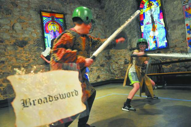 A pair of Medieval Feast participators take up the broadswords during the Tournament of Games portion of the event.