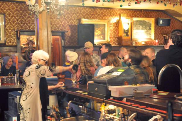 Folks packed the National Exchange Hotel bar during the final night of operation under the hotel's former owners Saturday.