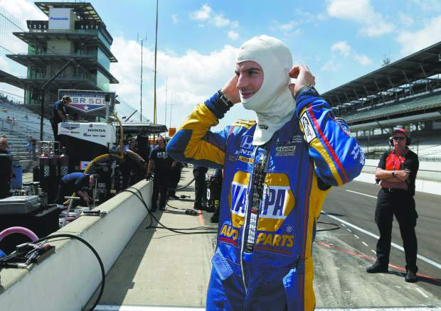 Alexander Rossi prepares to drive during a practice session for the Indianapolis 500 IndyCar auto race at Indianapolis Motor Speedway, Thursday, May 18, 2017, in Indianapolis.