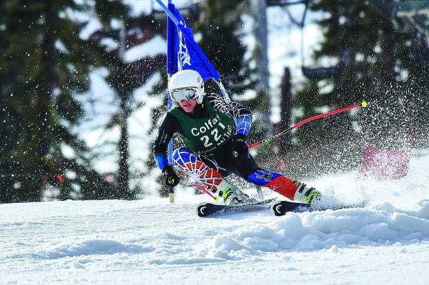 Calan Martel won CNISSF State Championships in the mens slalom race and giant slalom race in early March.
