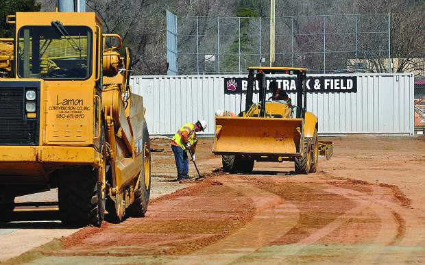 Lamon Construction Company workers have been busy working on the track at Bear River High School while students are away for Spring Break.