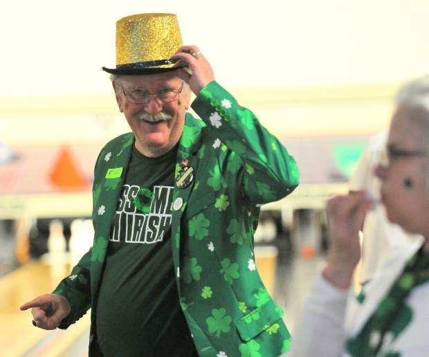 Grass Valley's Ron Egenes shows off his St. Patrick's Day attire during Saturday's Shamrock Bowl at Prosperity Lanes. Egenes' style was enough to win him an award for best individual costume.