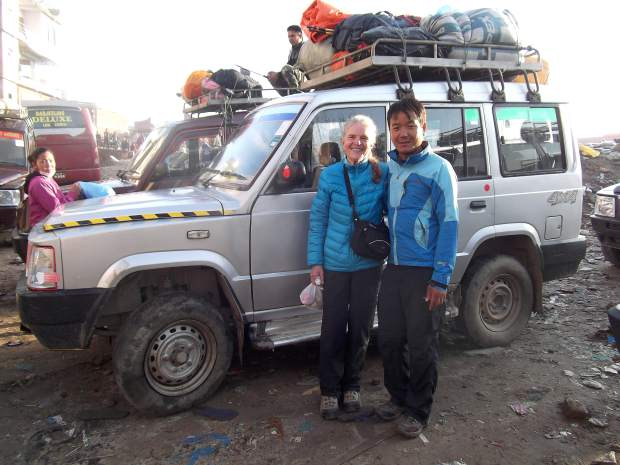 Annie Looby and a guide pose before embarking on the Langtang Trek in Nepal in 2014.