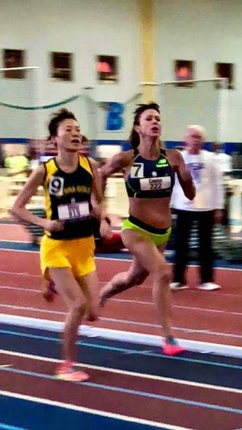 Sierra Gold team member Makie Ohler won the National Championship in the women's 50-54 1,500-meter race, beating the second place finisher by a fraction of a second at the USATF Indoor National Championships in Maryland last weekend.