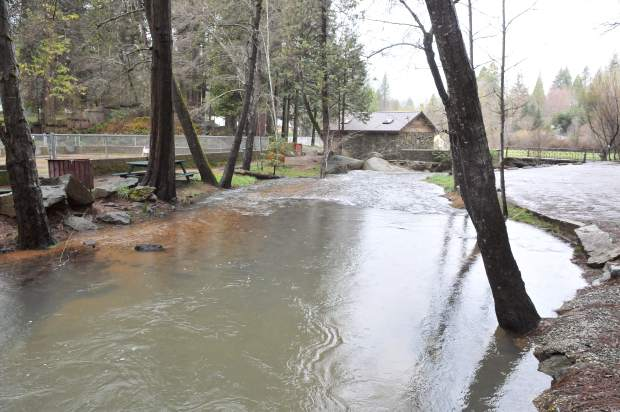 Little Deer Creek flows wide through Pioneer Park, but has since stayed within its banks.