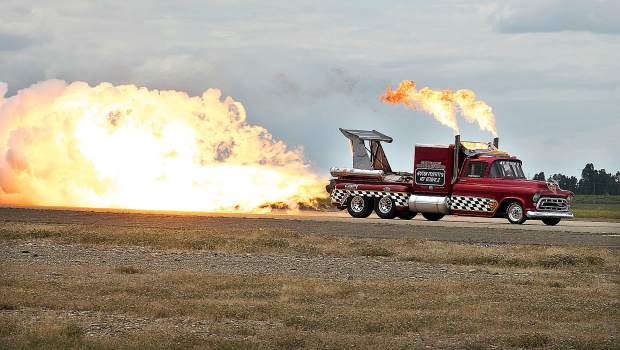 A 1957 Chevy jet-engine truck gets things heated up Saturday at the Beale Air Force Base show.