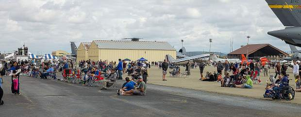 Spectators watch fly-bys of airplanes Saturday at the. Beale Air Force Base's Air & Space Expo.