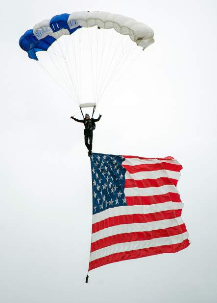 Beale Air Force Base's Air & Space Expo 2018, on Saturday featured a variety of aircraft and demonstrations, including the Wings of Blue parachute team from the Air Force Academy in Colorado Springs, Colorado flying in the American flag during the national anthem.