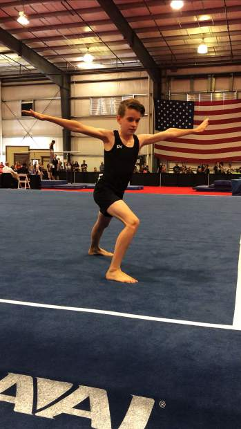 Jonathan Lyda prepares for his last tumbling pass in Chandler, Arizona. He is a regional champion on pommel horse, rings and floor.