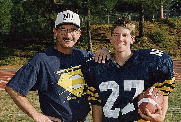 Mike Bratton, left, is being inducted into the Nevada Union Athletics Hall of Fame April 28. Bratton is pictured here with his son Joey.