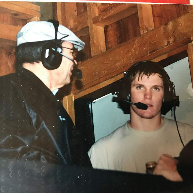 Brian Dwyer, right, with Fred Anderson who was NU's radio announcer and a mentor to Dwyer.