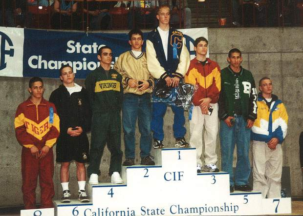 Paul Gross, fourth from left, was a standout wrestler for Nevada Union in the late 1990s, winning individual Sac-Joaquin Section championships in 1998 and 1999, qualifying for the State Championships four times and earning top-four finishes twice, and helping his team to four straight league titles. In addition to winning the 125-pound section title in 1999, Gross placed second at the state championships and was named a High School All-American. Gross will be inducted into the Nevada Union Athletics Hall of Fame April 28.