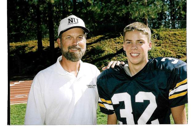 Gary Sharpe with his son Matt. Sharpe coached junior varsity and freshman football at Nevada Union for 36 years (1974-2010). He collected an overall record of 311-37, won 24 league championships, had 13 perfect seasons and put together a 14-year long, 97-game winning streak against league opponents.