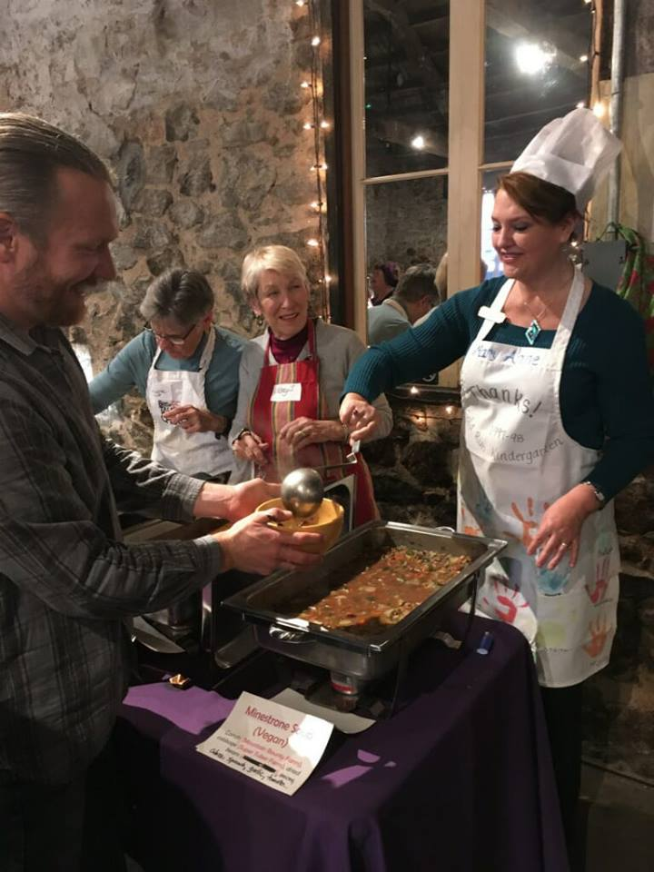 Mary Anne is a devoted volunteer for many causes, including serving at the Sierra Harvest Soup Night event.