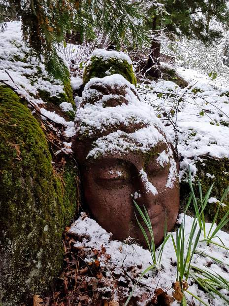A face rests in the snow.