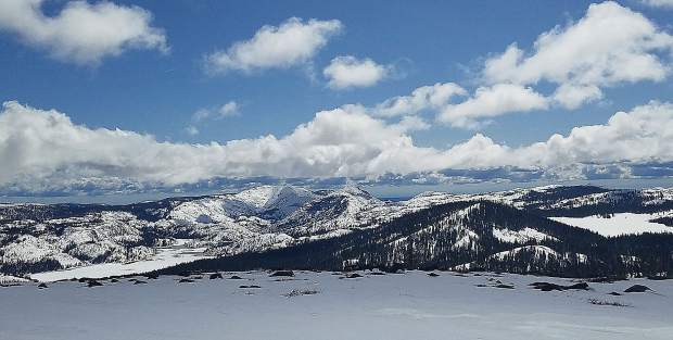 2. Lacy Peak, featuring the Fordyce Red Mountain on the left and Meadow Lake to the right.
