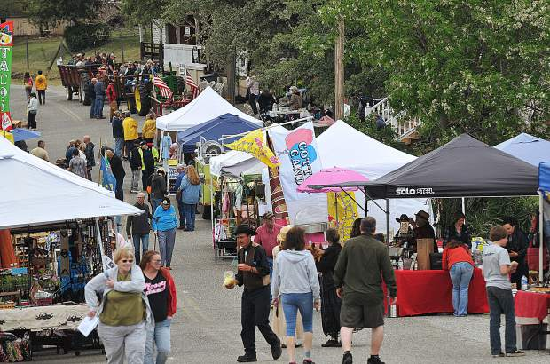 Smartville Road through Smartsville fills up with street vendors on the last Saturday of April each year for Pioneer Day.