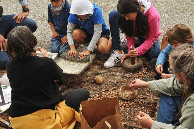 Kids got the opportunity to learn what it was like for local Native American tribes that utilized ground up acorns for food during Pioneer Day in Smartsville.