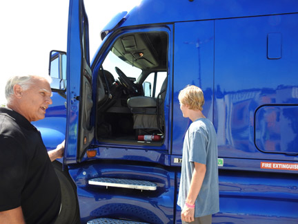 Bart Riebes is bringing a semi truck so that the kids can see what big rig drivers see. Photo submitted by Mike Hauser