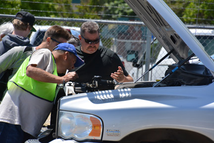 Teens learn to inspect their vehicles and what to look for before getting on the road. Photo submitted by Mike Hauser