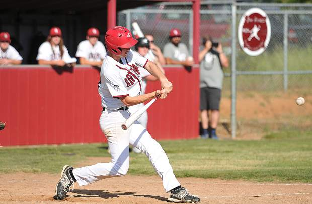 Bear River's Cole Winters smashes a two run home run in the fourth inning of the Bruins' first round playoff win over the Western Sierra Wolves of Rocklin Thursday at Richard S. Werntz Baseball Field at Bear River High.