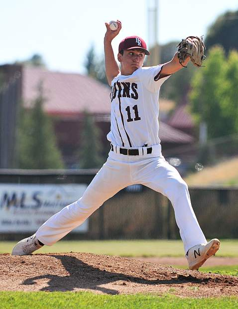Bear River starting pitcher Clay Corippo fires a pitch early in the game against the Western Sierra Wolves.