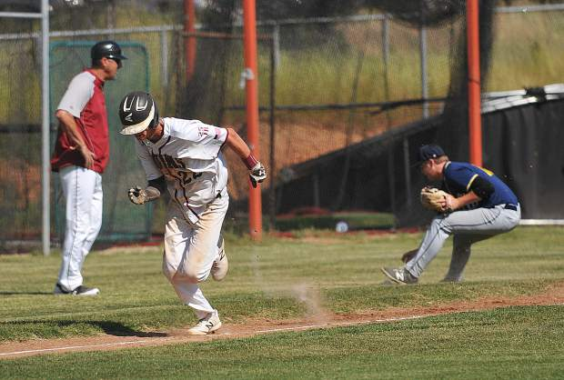 Nathan Van Patten breaks for home plate during to score the first run in the 1st inning of Thursday's first round playoff win over the Western Sierra Wolves.