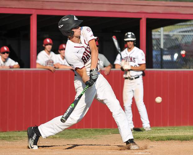 Damian Christen hits the game winning run during the Bear River Bruins' playoff bout against the Western Sierra Wolves.