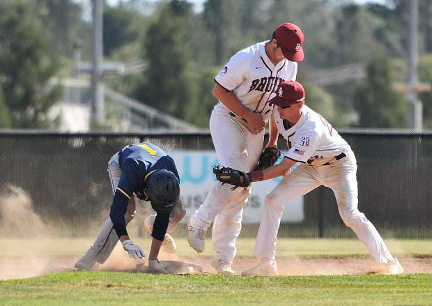 Bear River second baseman Nathan Van Patten can't make the tag of a Western Sierra baserunner during Thursday's first round DV playoff win over the Wolves.