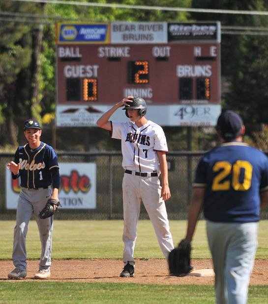 Bear River senior Jake Leonard takes a breather on second base after hitting a double in the first inning of Thursday's first round playoff win over the Western Sierra Wolves beating them 11-1 in six innnings.