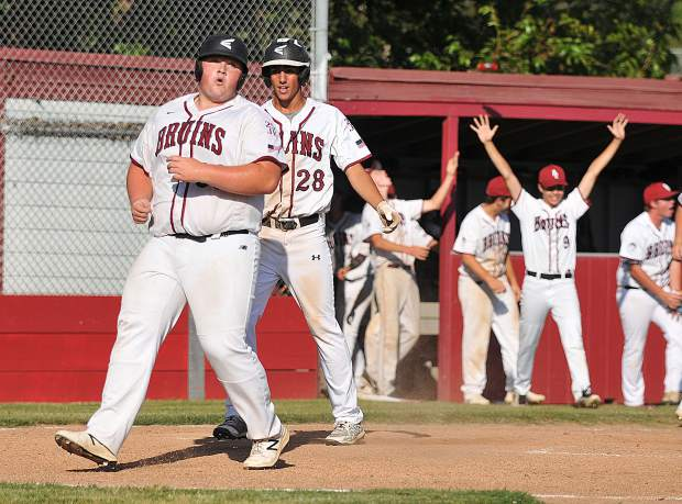 Bear River baserunner Scott Sandstedt scores the game clinching run in the sixth inning.