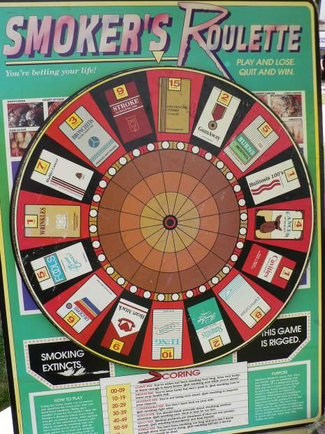 "A game called ""Smoker's Roulette"" showed the variety of illnesses that smokers can develop."