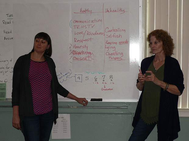 (Left to right) Two presenters from Community Beyond Violence, Mandy Soes and Nancy Zeisler, led a discussion about healthy and unhealthy attributes of relationships.