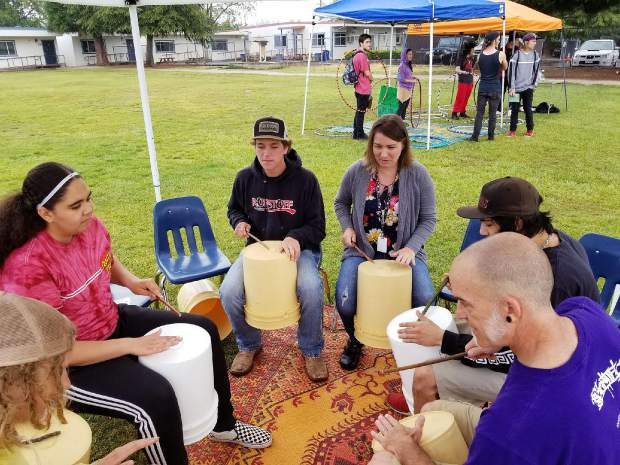 Drumming circles were part of the Health Fair at Silver Springs High School Wednesday.