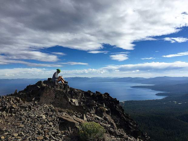 One of Jesse Locks' fellow hiking mates, Grace Liu, takes a breather during their adventure around the Tahoe Rim Trail in 2015.