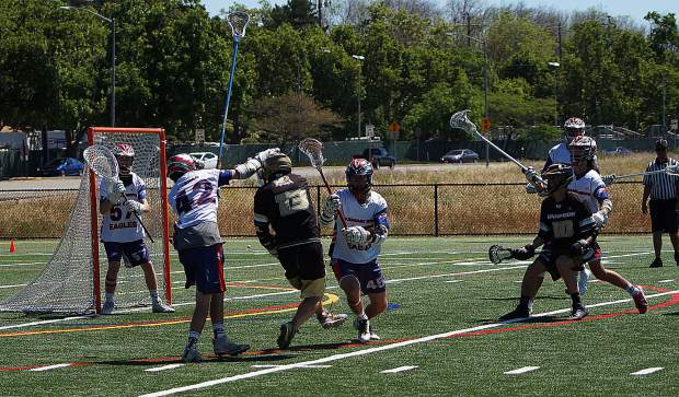 The Gold Country Stampede's Drew Heaps takes a shot during Saturday's win over Pleasant Grove