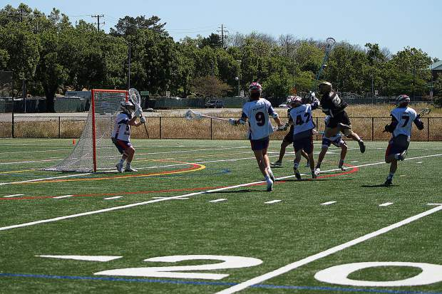 The Gold Country Stampede's Drew Heaps fires a shot on net. The Stampede powered past Pleasant Grove last Saturday and will now face the Napa Force in the Northern California Junior Lacrosse Association Championship game Sunday.
