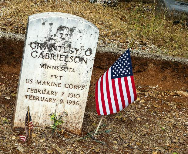 U.S. Marine Corps veteran PVT Grantley Gabrielson's gravesite at Greenwood Memorial Gardens on Rough and Ready Highway in Grass Valley.