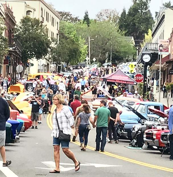 Images at the car show in downtown Grass Valley.
