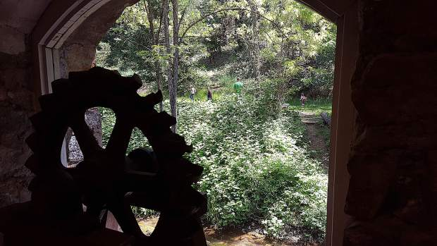 Looking out the window of Northstar Museum, kids playing at picnic area.
