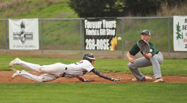 Bear River baserunner Nathan Van Patten rushes to get back to first base before the Colfax tag during Tuesdays game. Van Patten would eventually steal second base.