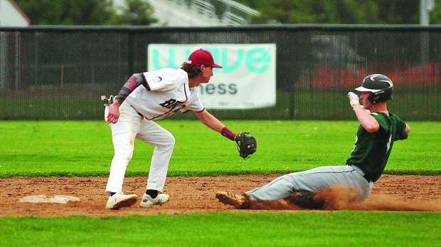 Bear River second baseman Nathan Van Patten readies to tag out a Colfax baserunner attempting to steal second base during Tuesday's game.