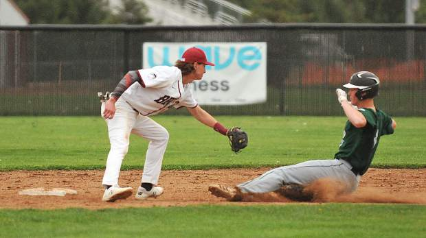 Bear River's Nathan Van Patten readies to tag out a Colfax baserunner attempting to steal second base during a game earlier this year. The Bruins and Falcons will face off for the fourth time this season when they battle it out in the Sac-Joaquin Section Division V playoffs today.