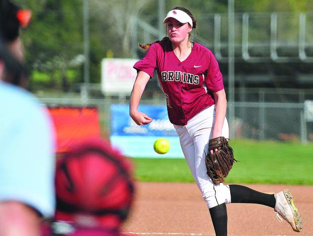 Bear River pitcher Kaitlyn Maddux fires off a pitch towards a Colfax batter during Wednesday's PVL league opening win over the Falcons.