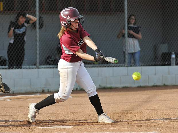 Bear River senior Kayla Toft makes contact and puts the ball into play during a win over the Colfax Falcons.