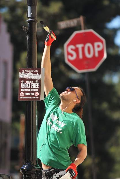 Jonathan Collier, Nevada County Cannabis Alliance member, uses his height to paint the tops of the downtown Nevada City gas lamps during Tuesday's spring cleaning event.