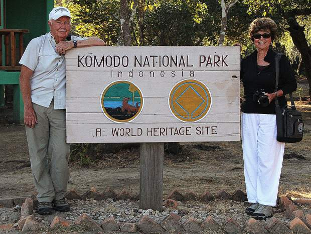 Ed and Bernadette Sylvester pose during their 2012 trip to Komodo Island, Indonesia, which is home to the Komodo Dragon, the largest lizard on earth.
