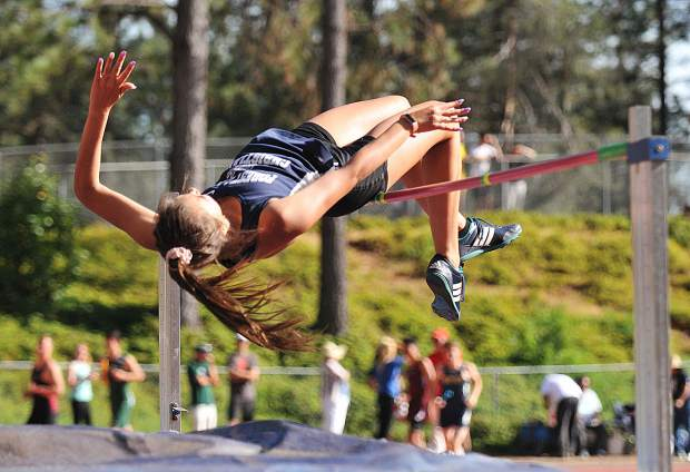 Forest Lake Christian high jumper Lily Sween competes in the high jump during Friday's invitational meet at Nevada Union High School.