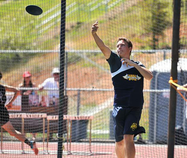 Nevada Union's Aidan Reedy-Schneider takes a toss of the discuss during Friday's invitational meet.
