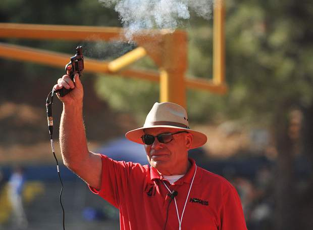 The sound of the gun is fired and the runners are off during one of the many track and field events held Friday at the Nevada Union and Bear River Invitational meet.